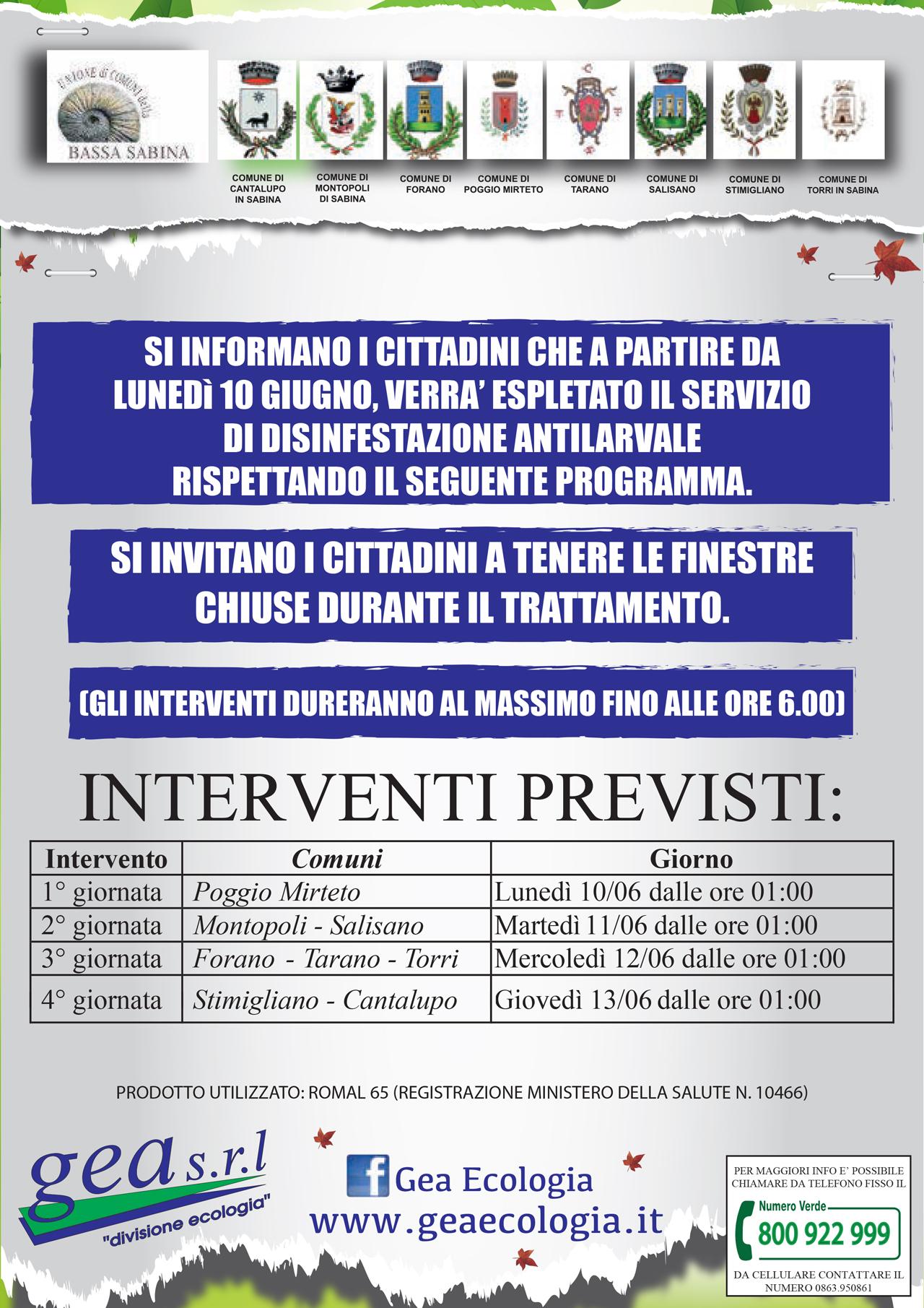 Comune Di Montopoli Di Sabina calendario interventi di disinfestazione   unione di comuni